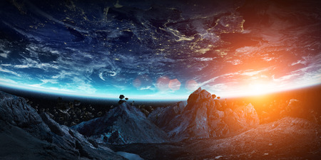 Gigantic asteroids in space about to crash on planet earth 3D rendering Stock Photo