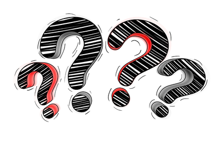 Red and black hand drawn question marks on white background