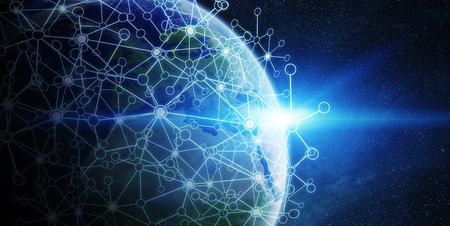 net trade: Network and data exchange over planet earth in space