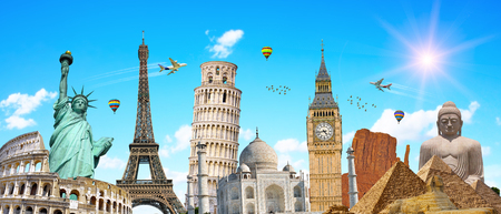 Famous landmarks of the world grouped together in front of blue sky Standard-Bild