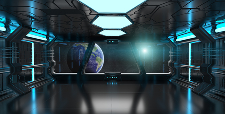 Spaceship blue interior with view on space and planet Earth 3D rendering Banco de Imagens