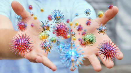 Close up on a sick man hand transmitting virus by skin contact 3D rendering Stock Photo