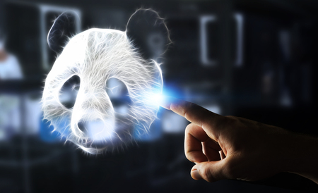 Person touching with his finger fractal endangered panda illustration 3D rendering