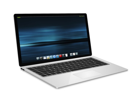 lcd: Modern digital silver and black laptop on white background 3D rendering