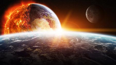 Vue sur la planète terre qui brûle dans l'espace Banque d'images - 65191401