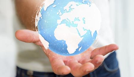 international internet: Businessman holding digital tactile world in his hand �3D rendering� Stock Photo