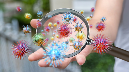 Close up on a sick man hand through magnifying glass transmitting virus by skin contact 3D rendering 스톡 콘텐츠