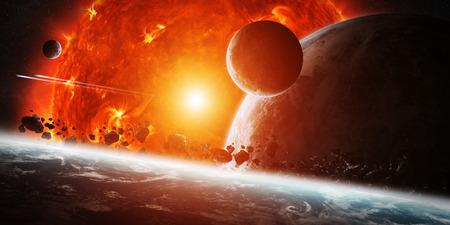 Sonne explodiert der Nähe von bewohnten Planeten-System