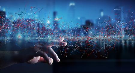 El hombre en el fondo borrosa estructura del ADN tocar con el dedo