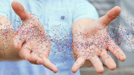 Man op onscherpe achtergrond houden DNA-structuur in zijn hand