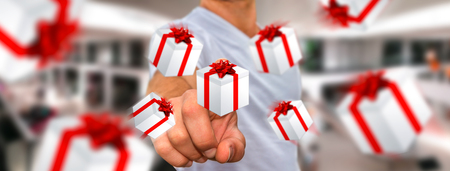 Man holding white and red flying gift boxes