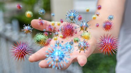 Cerca de un virus de transmisión de la mano del hombre enfermo por contacto con la piel representación 3D