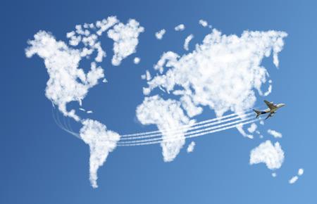 Cloud shaped like the world with a plane on blue sky