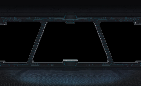 starship: Futuristic space station window with black background 3D rendering Stock Photo