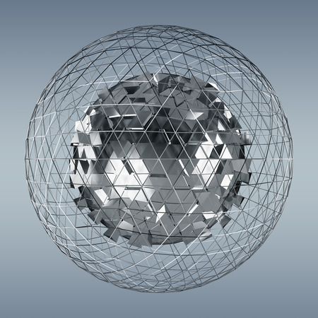 cerebro blanco y negro: Abstract sphere with shiny cube on grey background 3D rendering