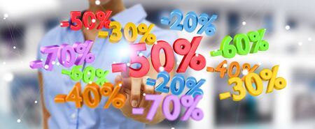Businesswoman on blurred background touching sales icons with her fingers 3D rendering