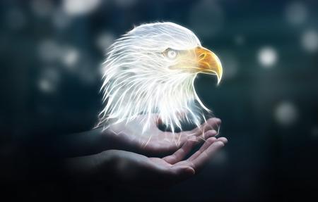 Person holding in his hand fractal endangered eagle illustration 3D rendering
