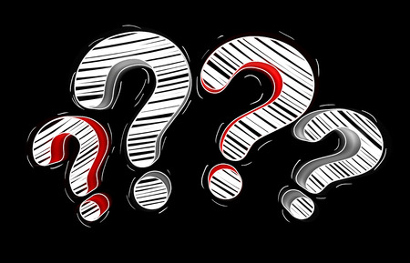 Red and white hand drawn question marks on black background Stock Photo