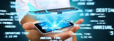 international internet: Businessman using modern mobile phone to book a flight