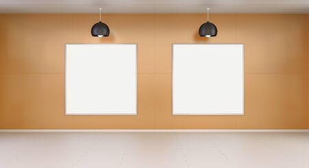 blanks: Two white blanks canvas on orange wall with lamps 3D rendering