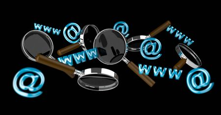 3D rendering contact icon and magnifying glass flying on black background