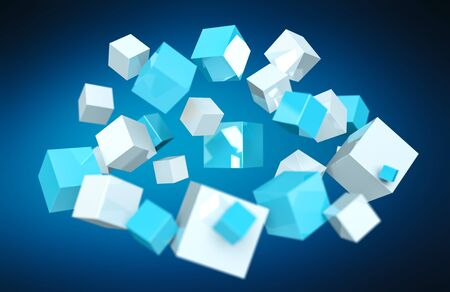 international internet: Floating blue and white shiny cube on blue background 3D rendering Stock Photo