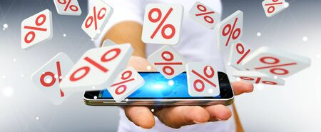 Businessman on blurred background holding sales icons over mobile phone 3D rendering Stock Photo