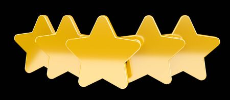 Five digital gold ranking stars on black background 3D rendering Stock Photo