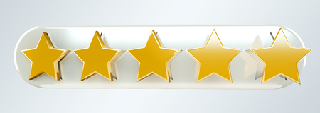 Five digital gold ranking stars on grey background 3D rendering Stock Photo