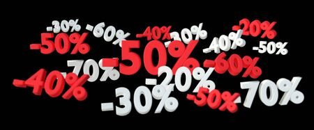 percent: Sales icons floating in the air on black background 3D rendering