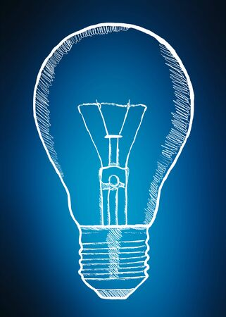 invent: Hand-drawn lightbulb innovation concept on blue background Stock Photo