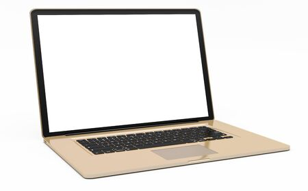 touchpad: Modern digital gold and black laptop with blank screen 3D rendering