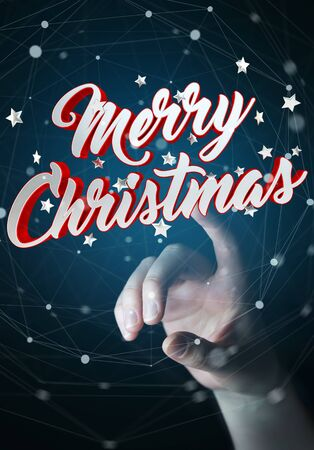 Businesswoman on blurred background touching floating christmas message with her finger 3D rendering