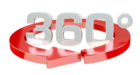 360-Grad-3D-Symbol auf weißem Hintergrund machen