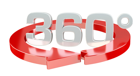 360 degree 3D render icon on white background