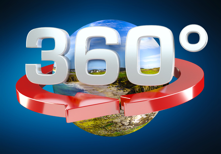 360 degree 3D render icon on blue background