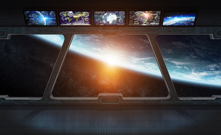 Window view of planet earth from a space station 3D rendering