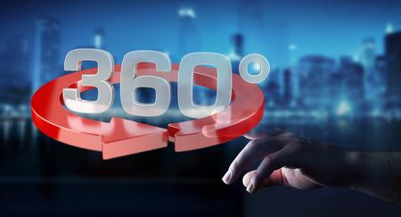 Mann auf unscharfen Hintergrund berühren 360 Grad 3D render Symbol mit dem Finger