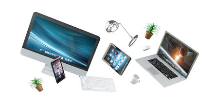 3D rendering flying workplace with laptop phone and tablet on white background