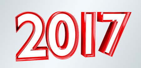 shinny: 3D rendering 2017 new year eve illustration on grey background