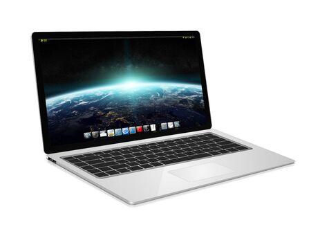 laptop: Modern digital silver and black laptop on white background 3D rendering