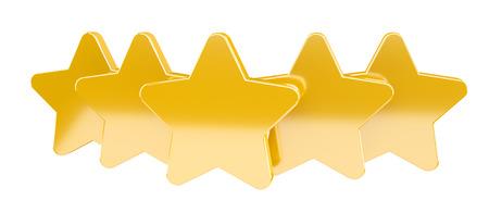 ranking: Five digital gold ranking stars on white background 3D rendering