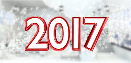3D rendering 2017 new year eve illustration on snow background