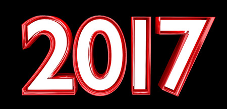 3D rendering 2017 new year eve illustration on black background