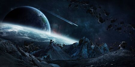 gigantic: Gigantic asteroids in space about to crash on planets 3D rendering elements of this image furnished by NASA