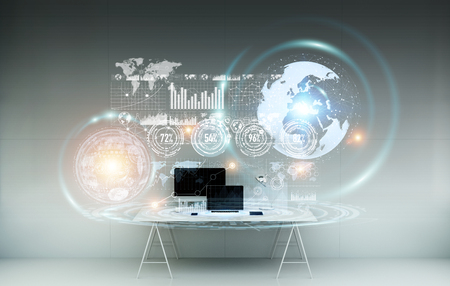 Office with modern devices and digital datas on hologram screens 3D rendering Stock Photo