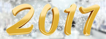 3D rendering gold 2017 new year eve illustration on snow background Stock Photo