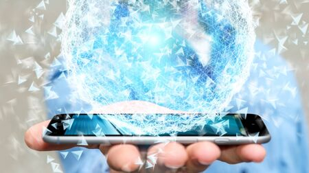 Businessman on blurred background using 3D rendering data network sphere with his mobile phone