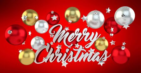 shiny gold: Floating christmas message with xmas balls on red background 3D rendering Stock Photo