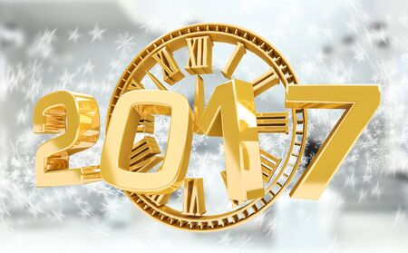 3D rendering clock 2017 new year eve illustration on snow background Stock Photo